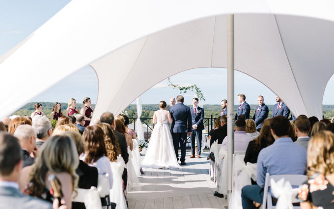 couple getting married on the rooftop during a Kalamazoo, Michigan wedding