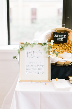 A popcorn bar set-up at a Loft 310 wedding in Kalamazoo, Michigan