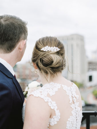 Bride and Groom enjoying the Kalamazoo skyline after their wedding