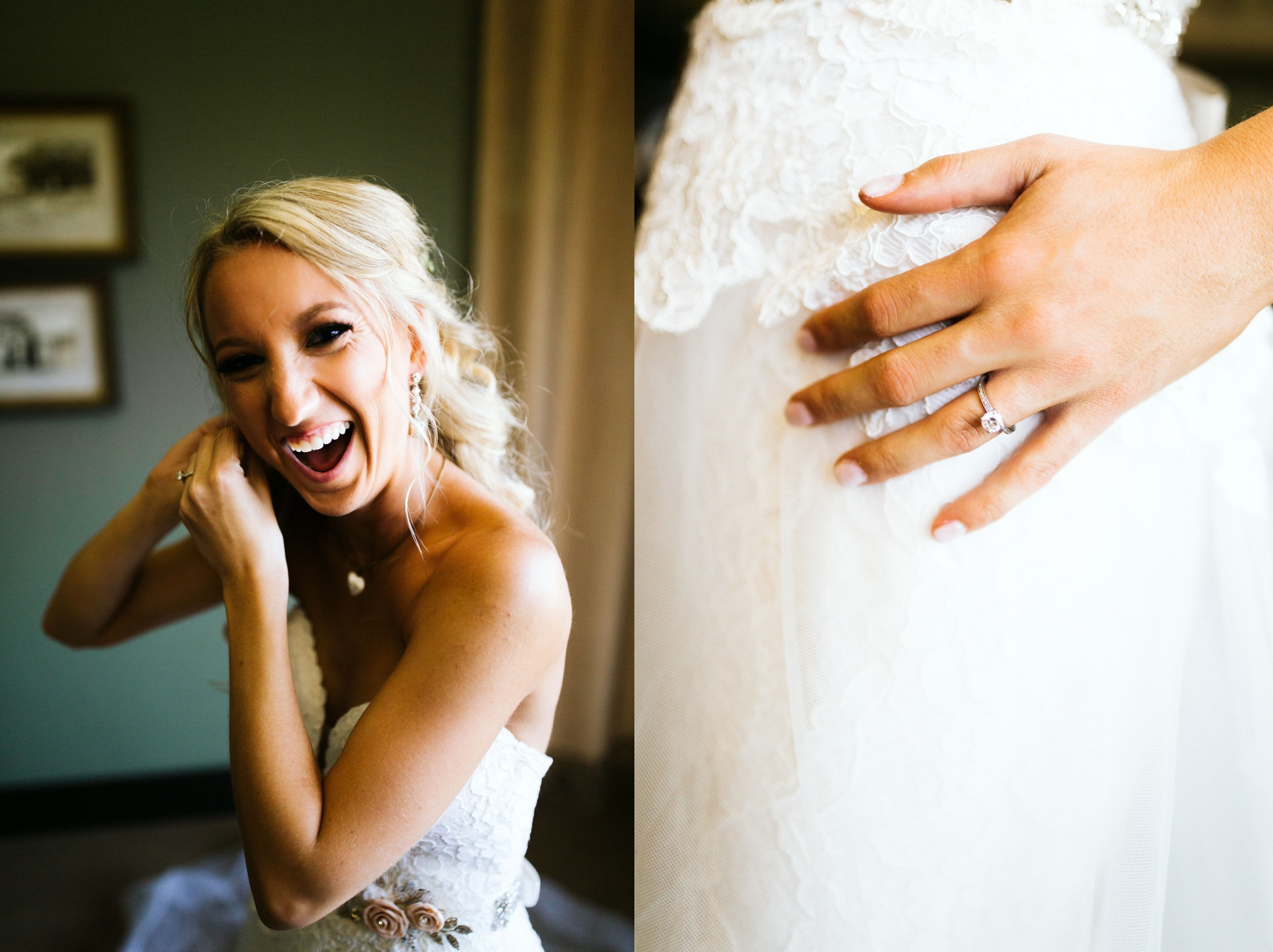 Bride smiling as she puts on her dress before her wedding in Spring Lake, Michigan