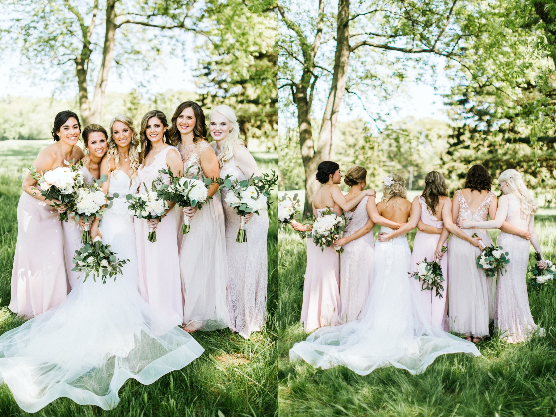 A bride and her bridesmaids smiling before her Michigan wedding