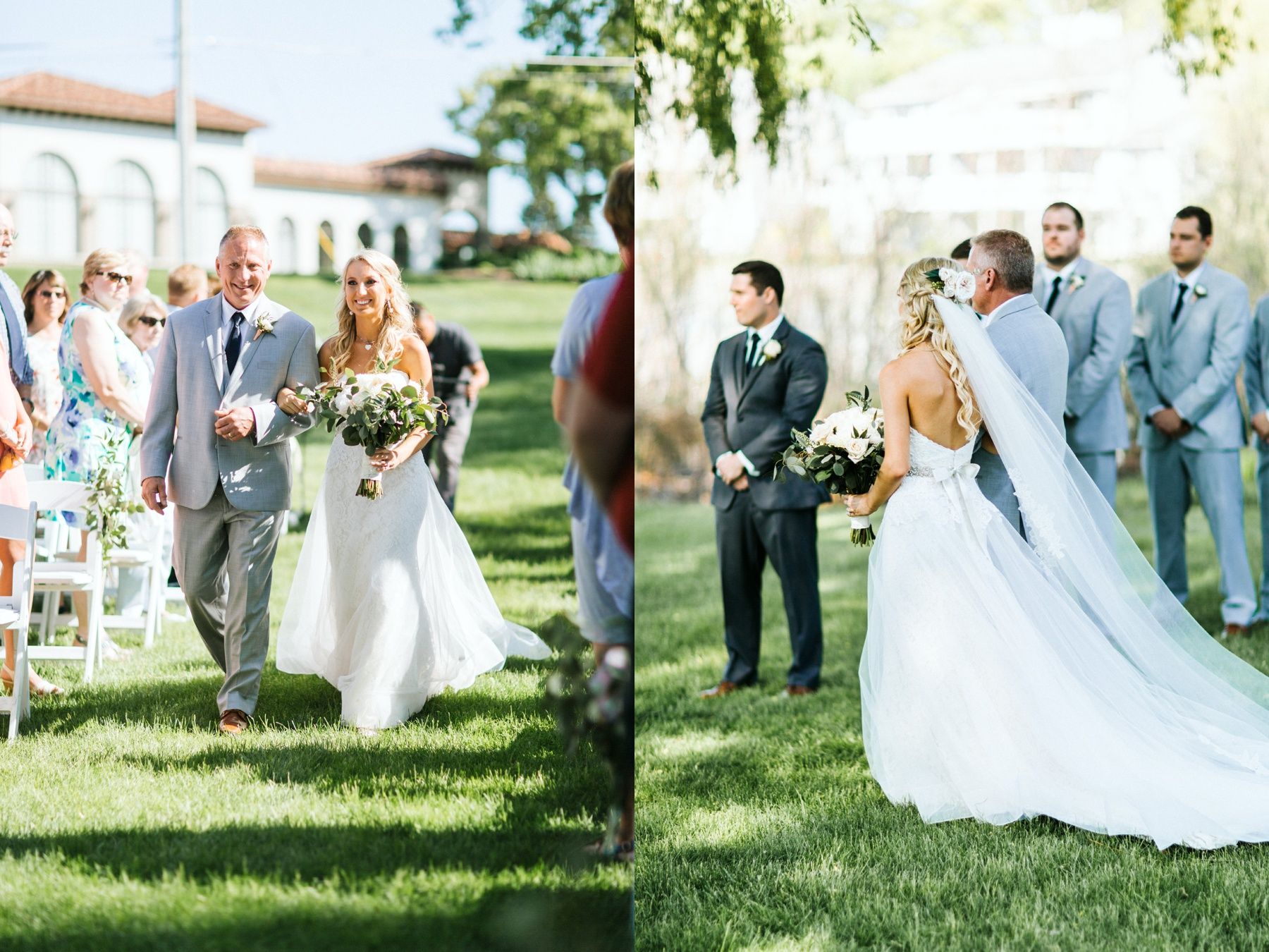 A bride and her father walking down the aisle during a spring lake country club wedding