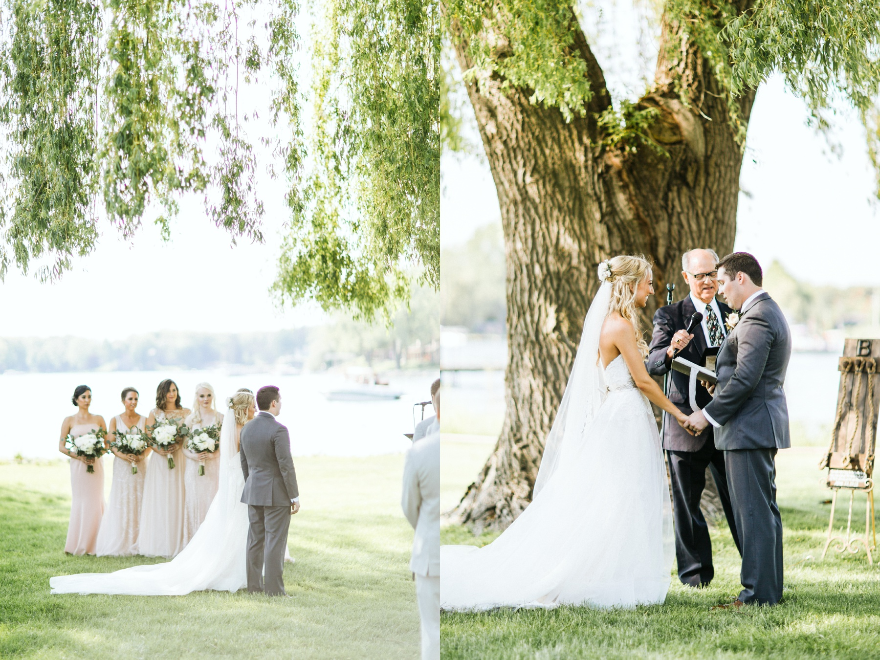 A lakeside ceremony happening during a spring lake country club wedding