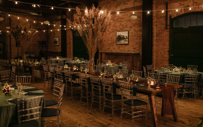 A reception set for a Ypsilanti Freighthouse Wedding