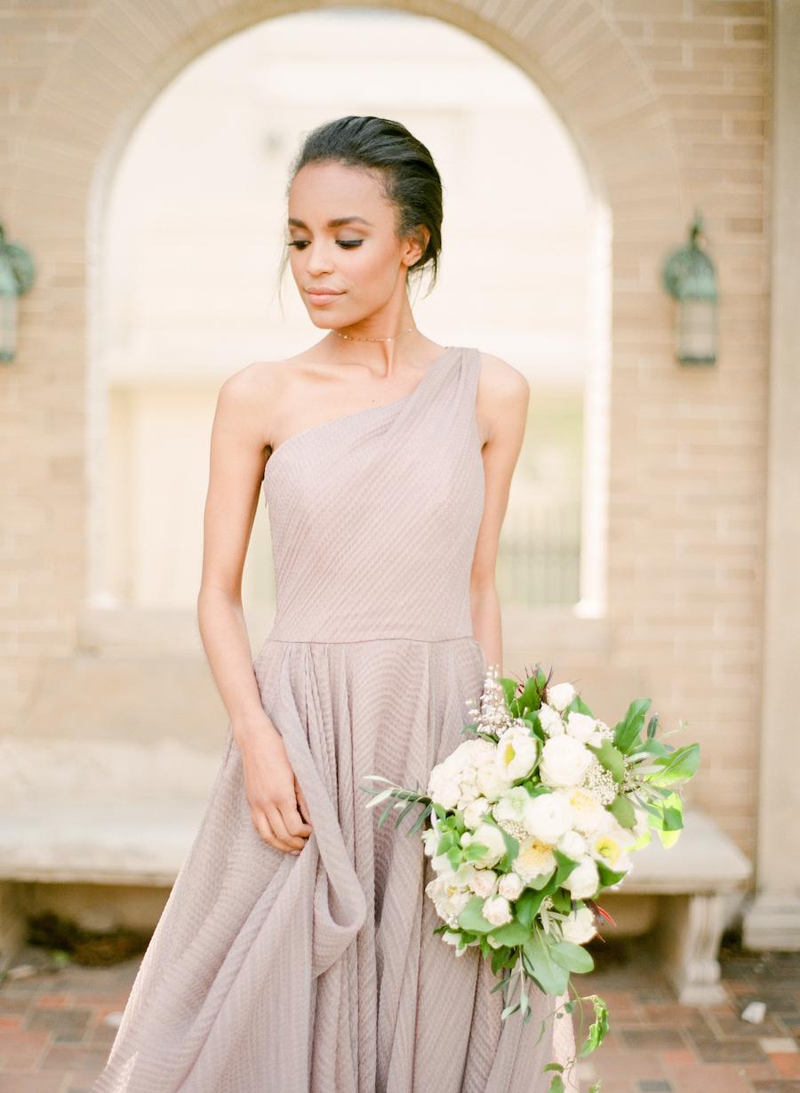 Bride in a mauve dress