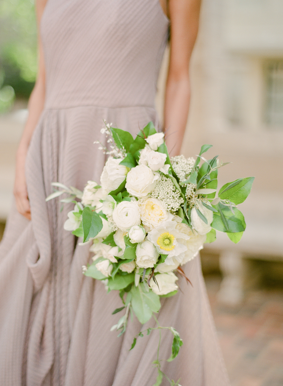 A white and green bridal bouquet