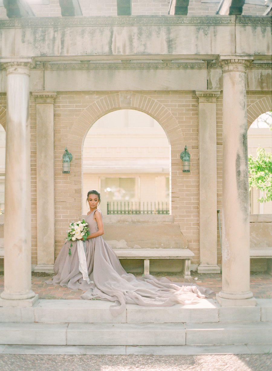 A bride before her Oklahoma city wedding