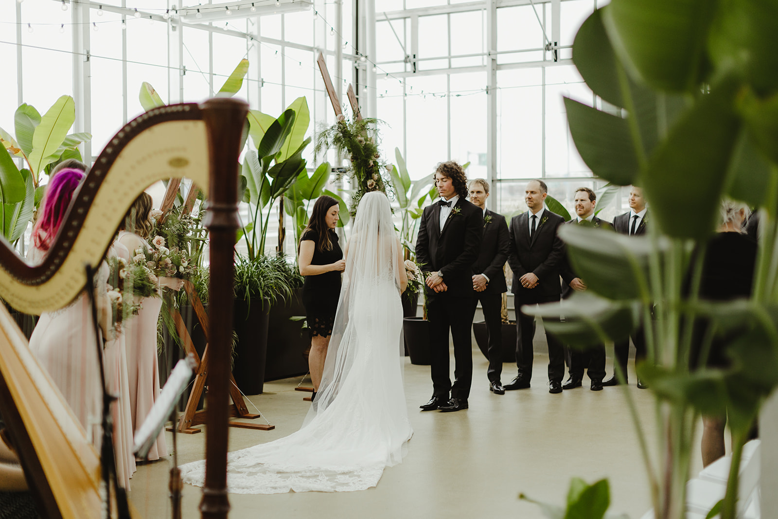 A ceremony taking place during a Downtown Market Grand Rapids wedding