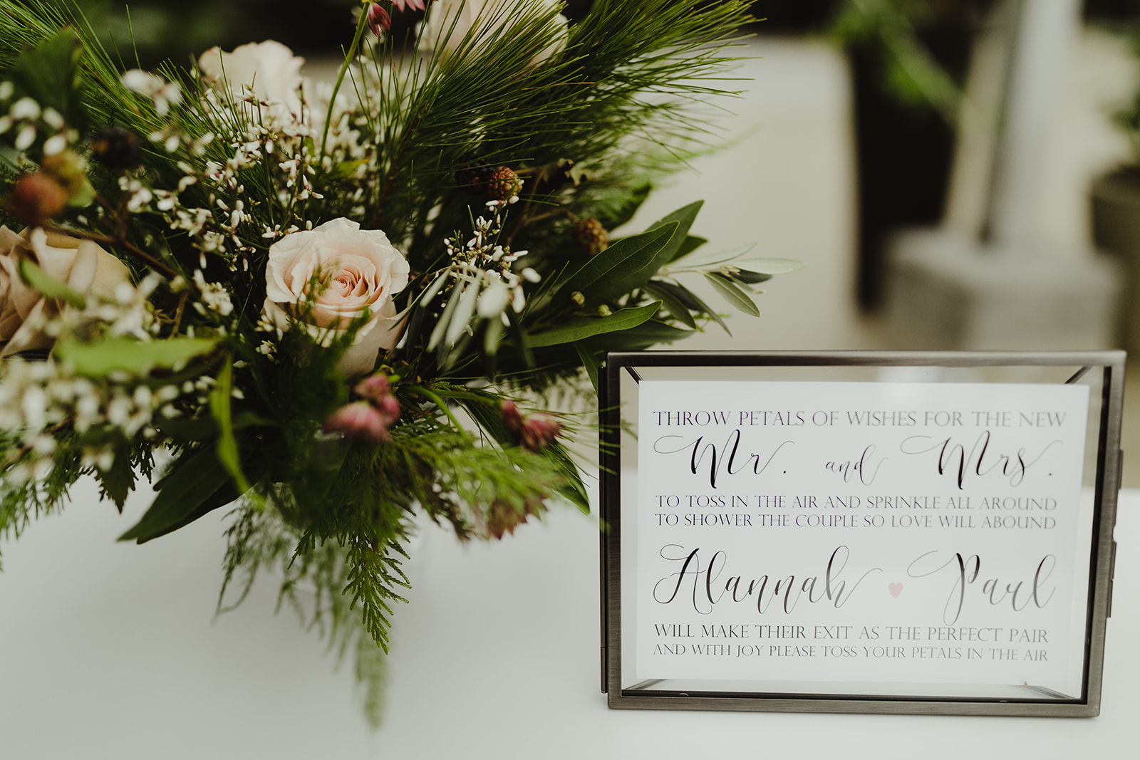 A petal bar display set-up before a wedding