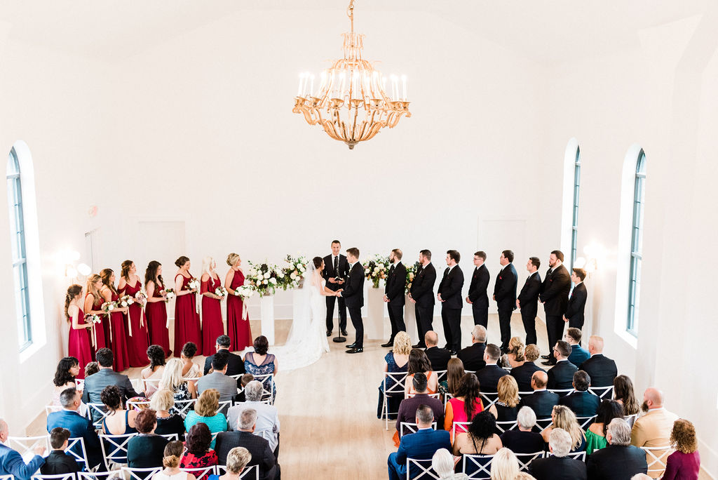 A wedding ceremony taking place at the Loft 310 Chapel in Kalamazoo, Michigan
