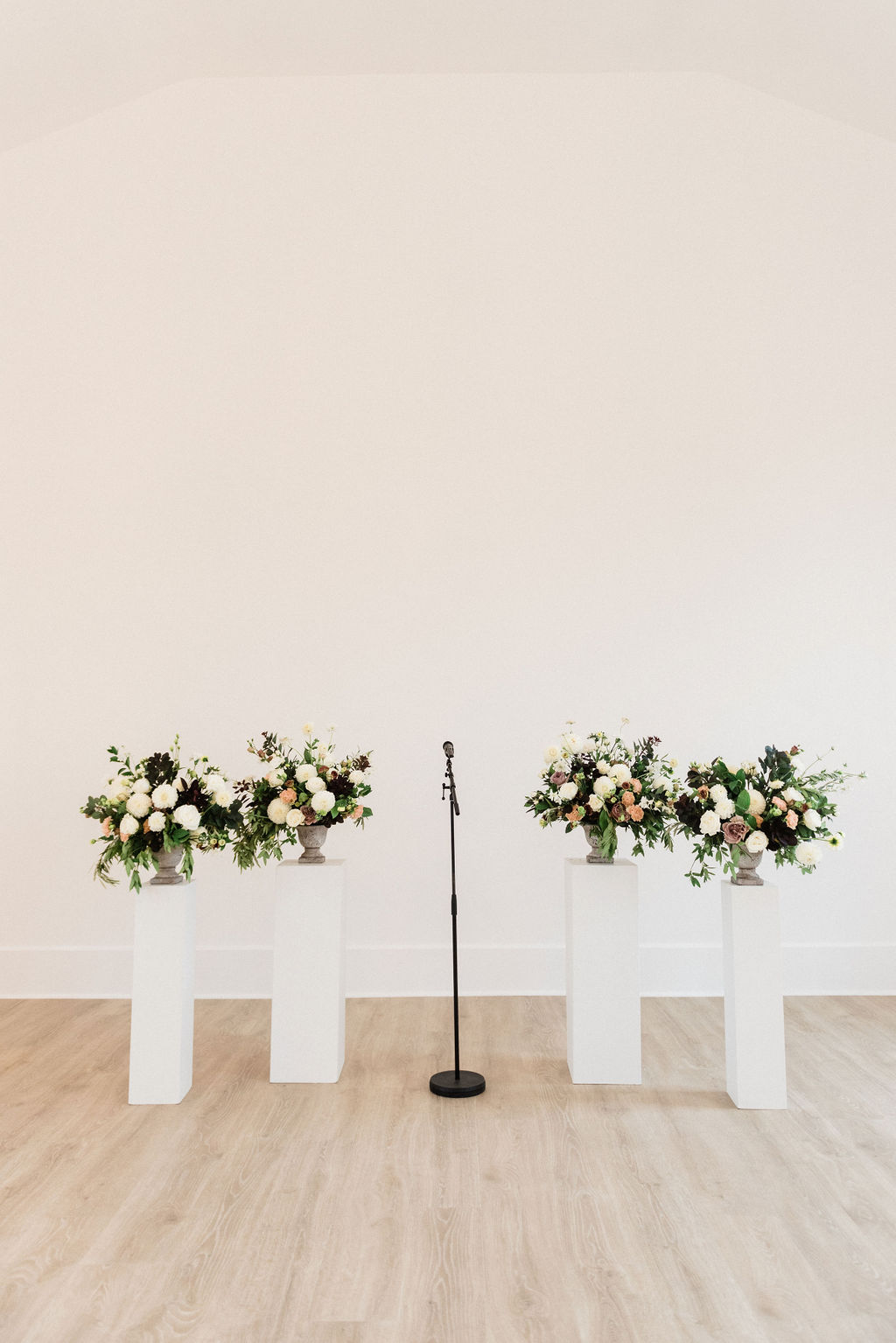 Flowers set for a Loft 310 chapel ceremony