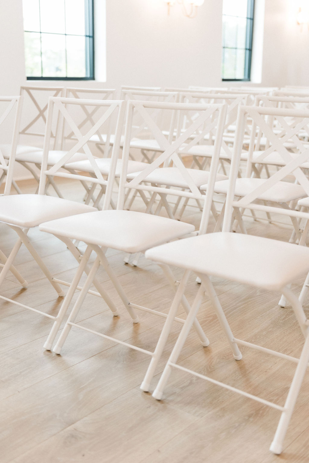 Chairs set for a ceremony during a Loft 310 Chapel wedding