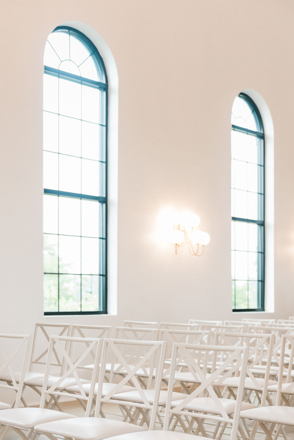 Chairs lined up for a ceremony during a Loft 310 Chapel wedding