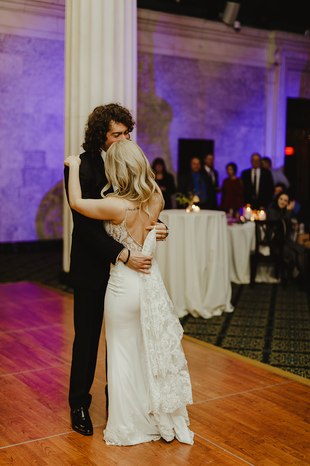 A couple sharing a first dance during a Ballroom at McKay wedding