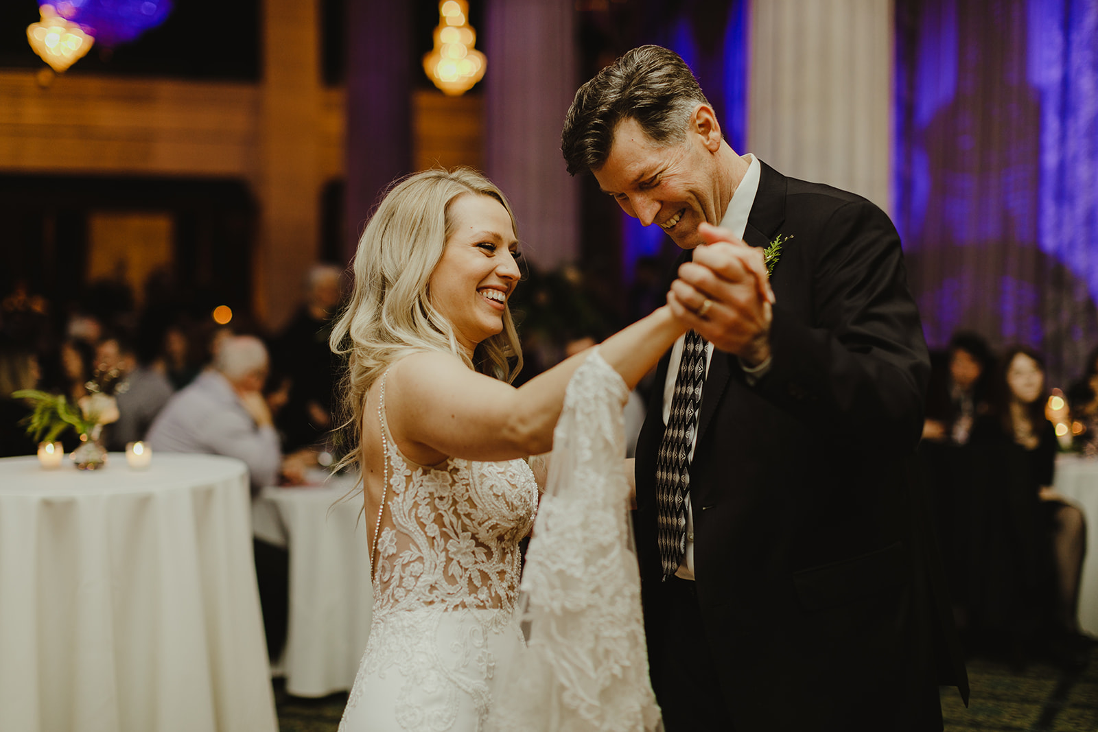 A bride and her father sharing a dance during her Ballroom at McKay wedding