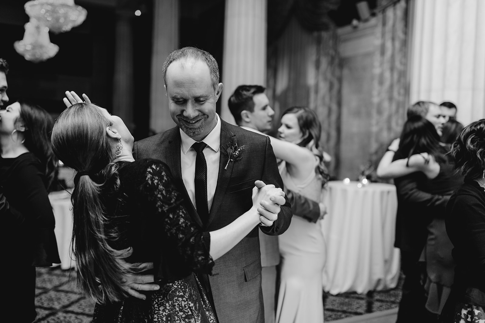 Guests dancing during a Grand Rapids, Michigan wedding