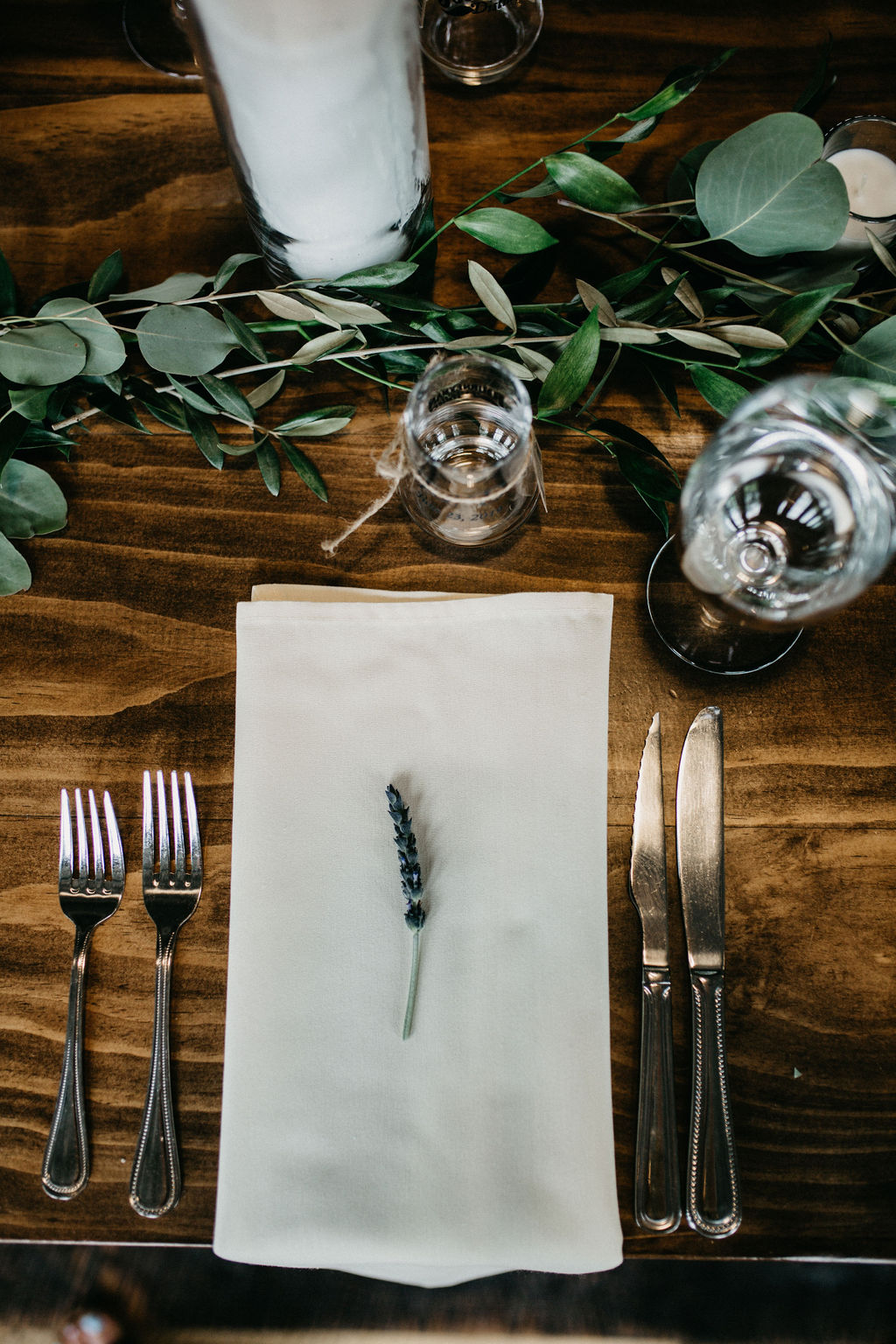 A place setting with a piece of lavender