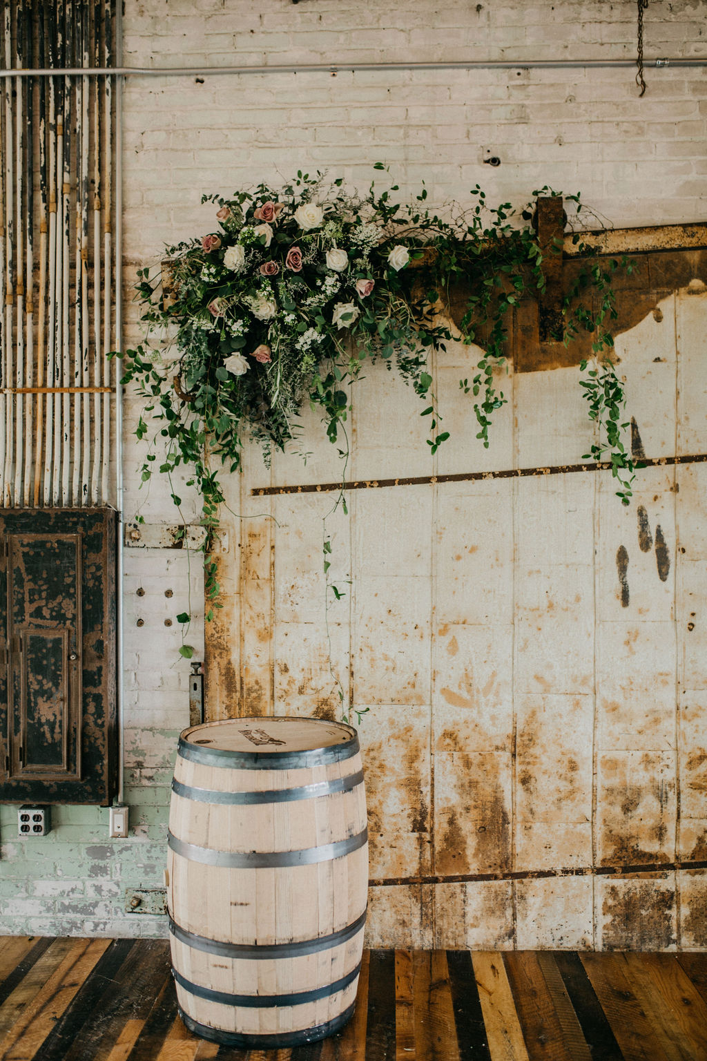 A flower arrangement on an old door