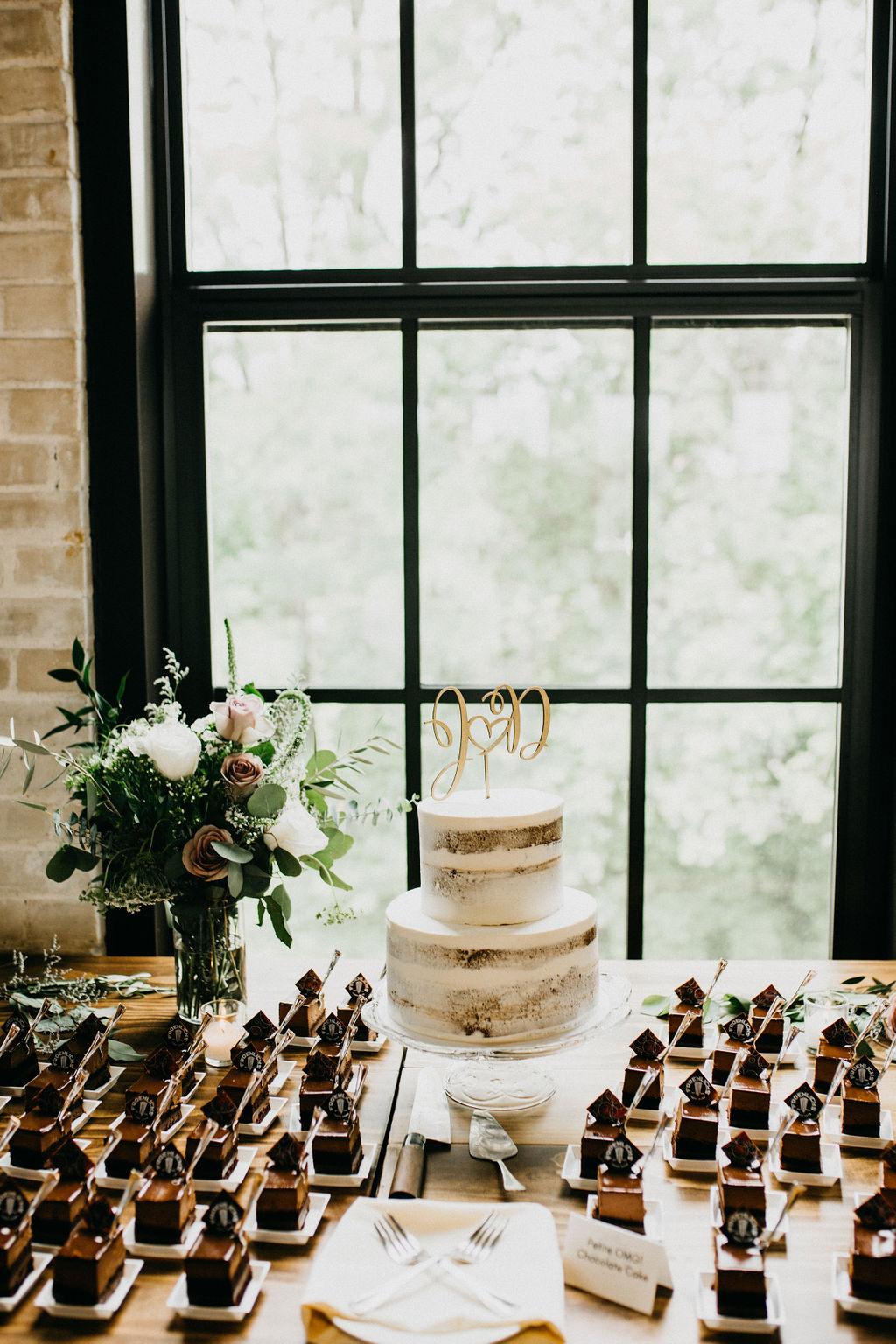 A wedding cake and desserts