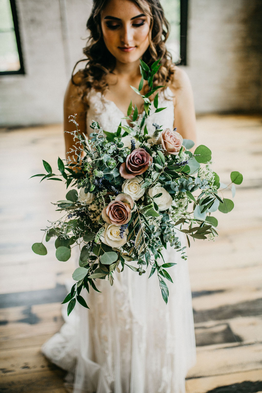 A bride with her bouquet