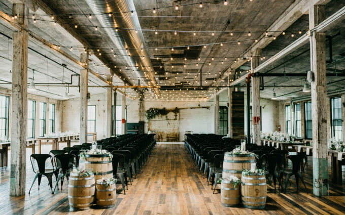 Journeyman Distillery wedding venue all set for a ceremony to take place