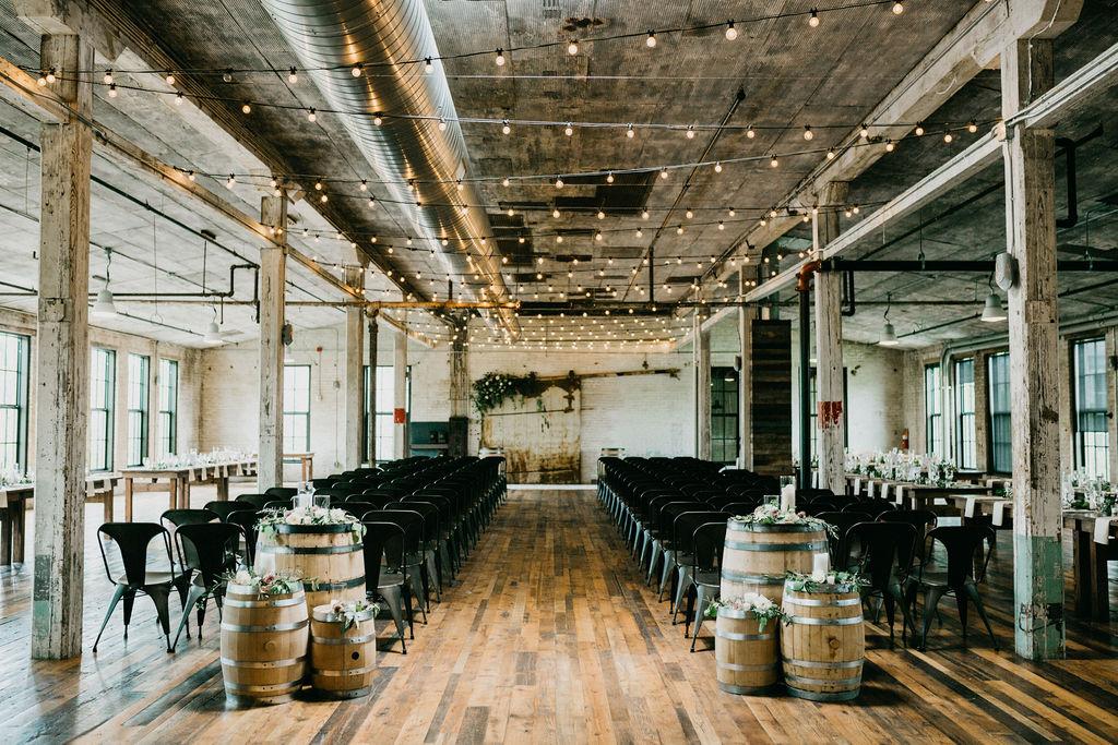 A ceremony set for a journeyman distillery wedding