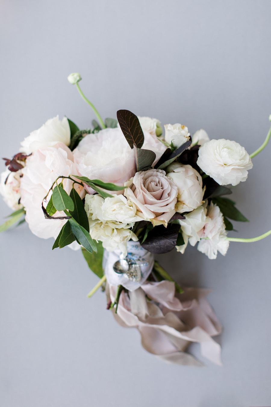 A garden inspired bridal bouquet