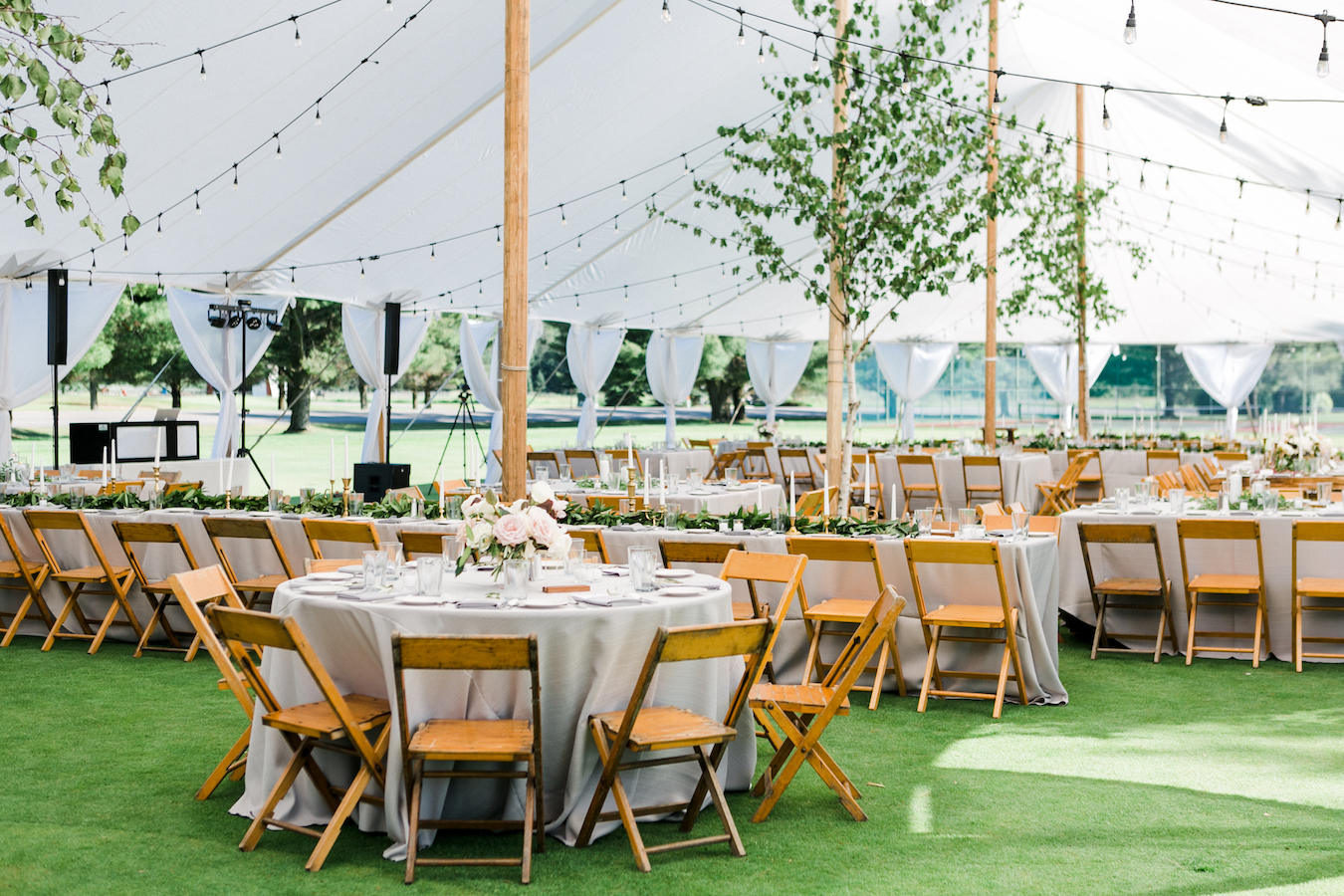 A tented Boyne Mountain Resort wedding on Deer Lake