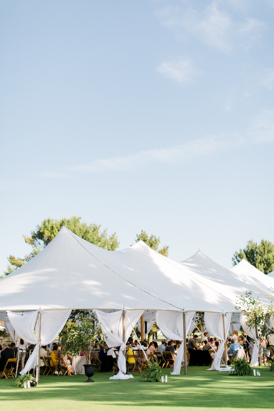 A lakeside wedding tent