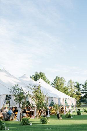 Wedding tent set at a lake wedding venue in Michigan