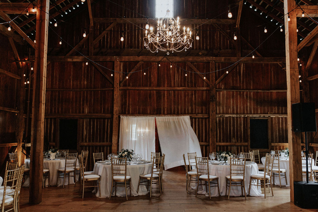 Reception set for a Hidden Vineyard Wedding Barn wedding.