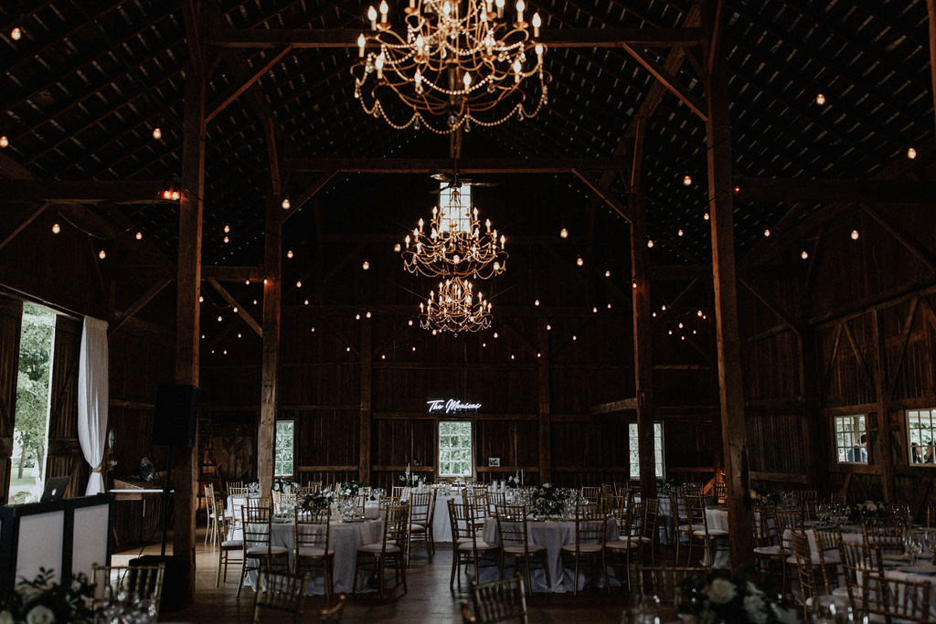 A barn wedding set for a reception