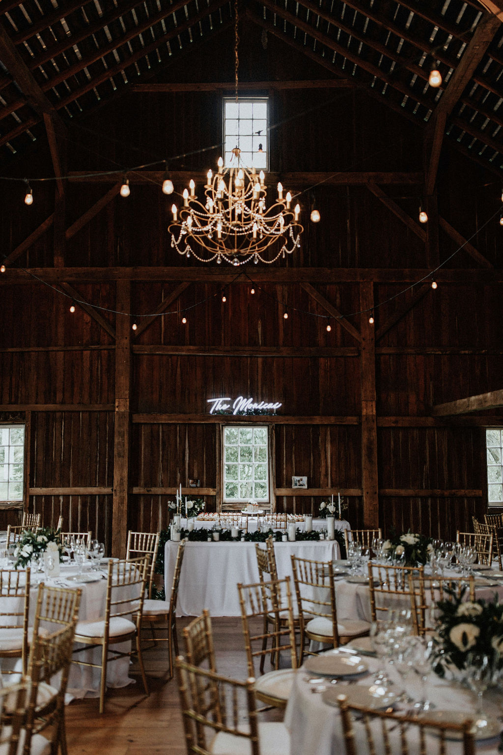 A gorgeous Hidden Vineyard Wedding Barn wedding reception.