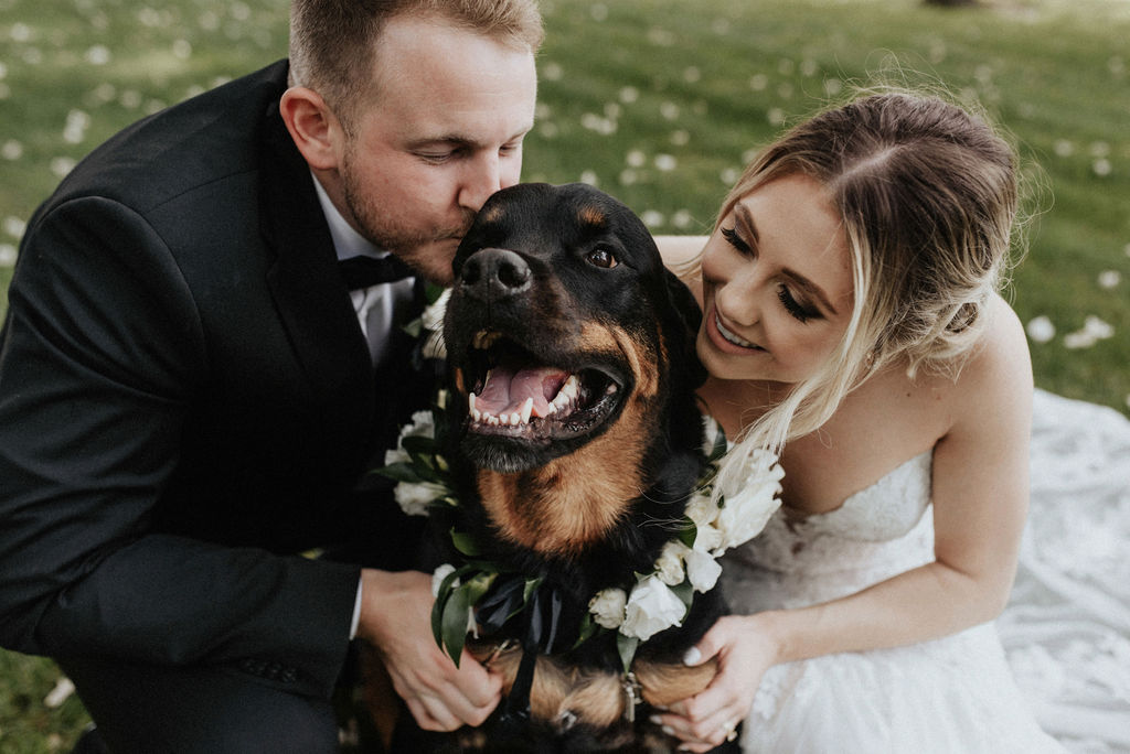 A couple smiling with their dog