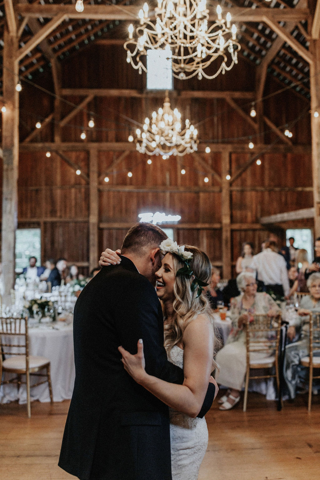 A couple sharing their first dance.