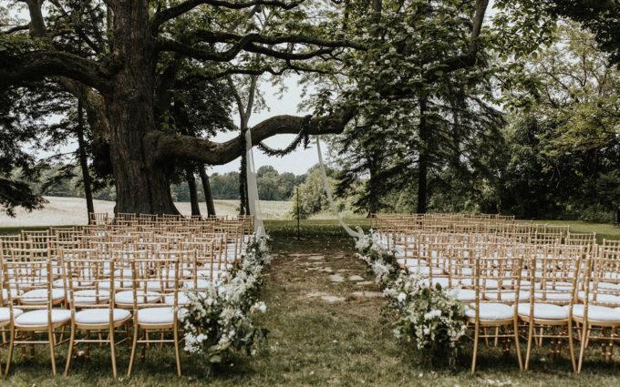Ceremony set-up for a Hidden vineyard wedding barn wedding