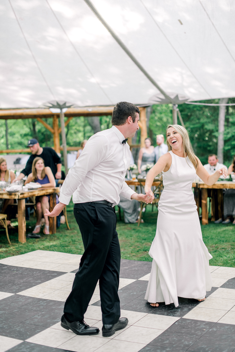 A couple sharing their first dance