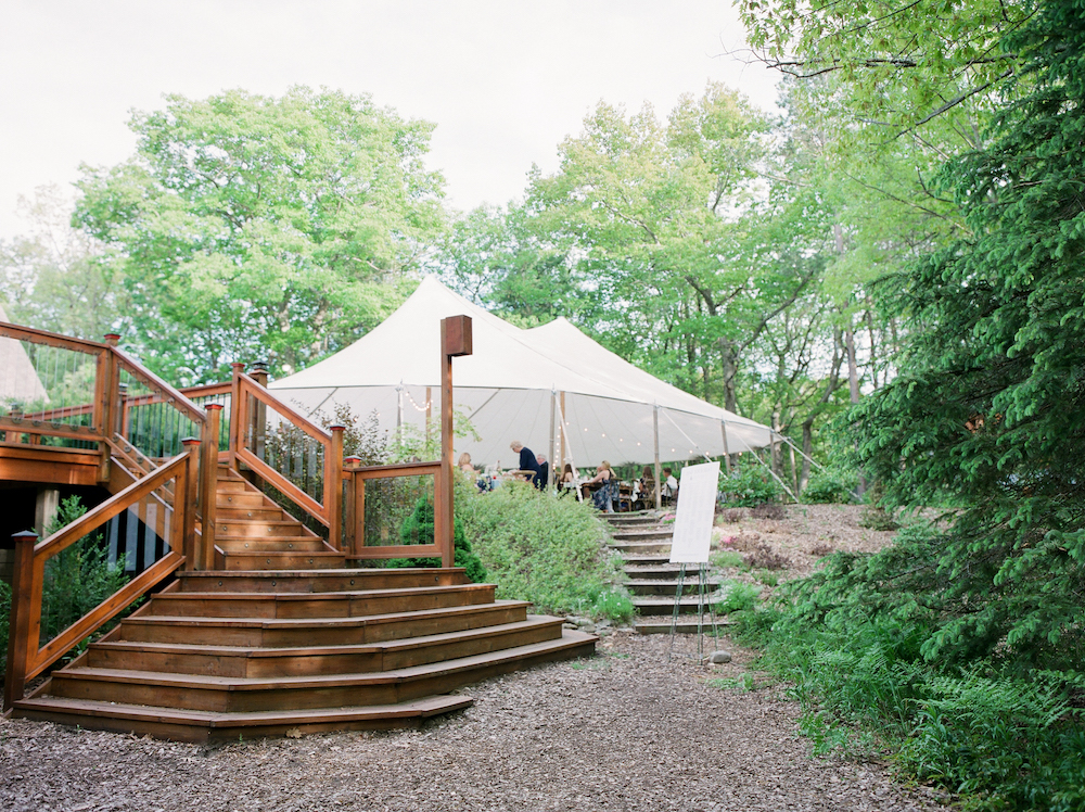A tent set for a Leelanau school wedding in Glen Arbor, Michigan