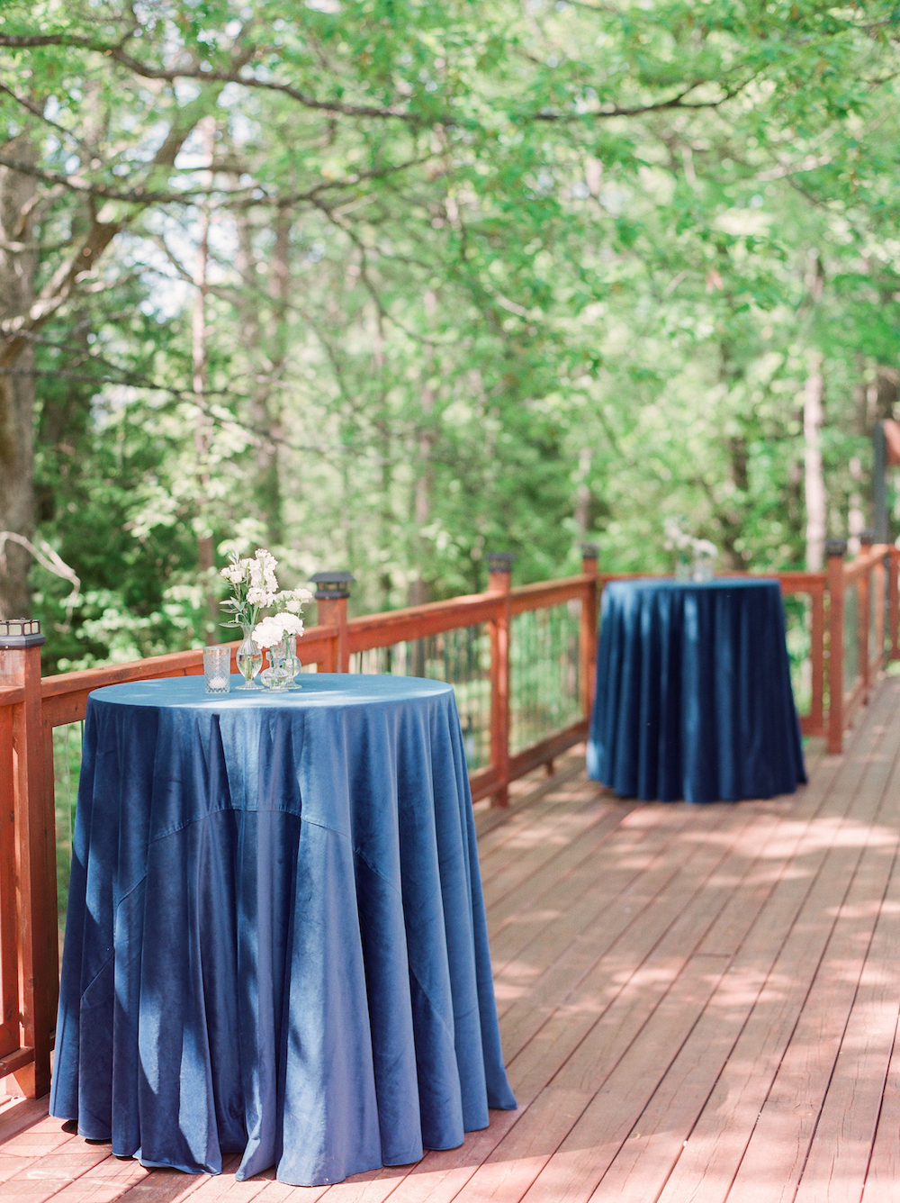 Blue cocktail table linens