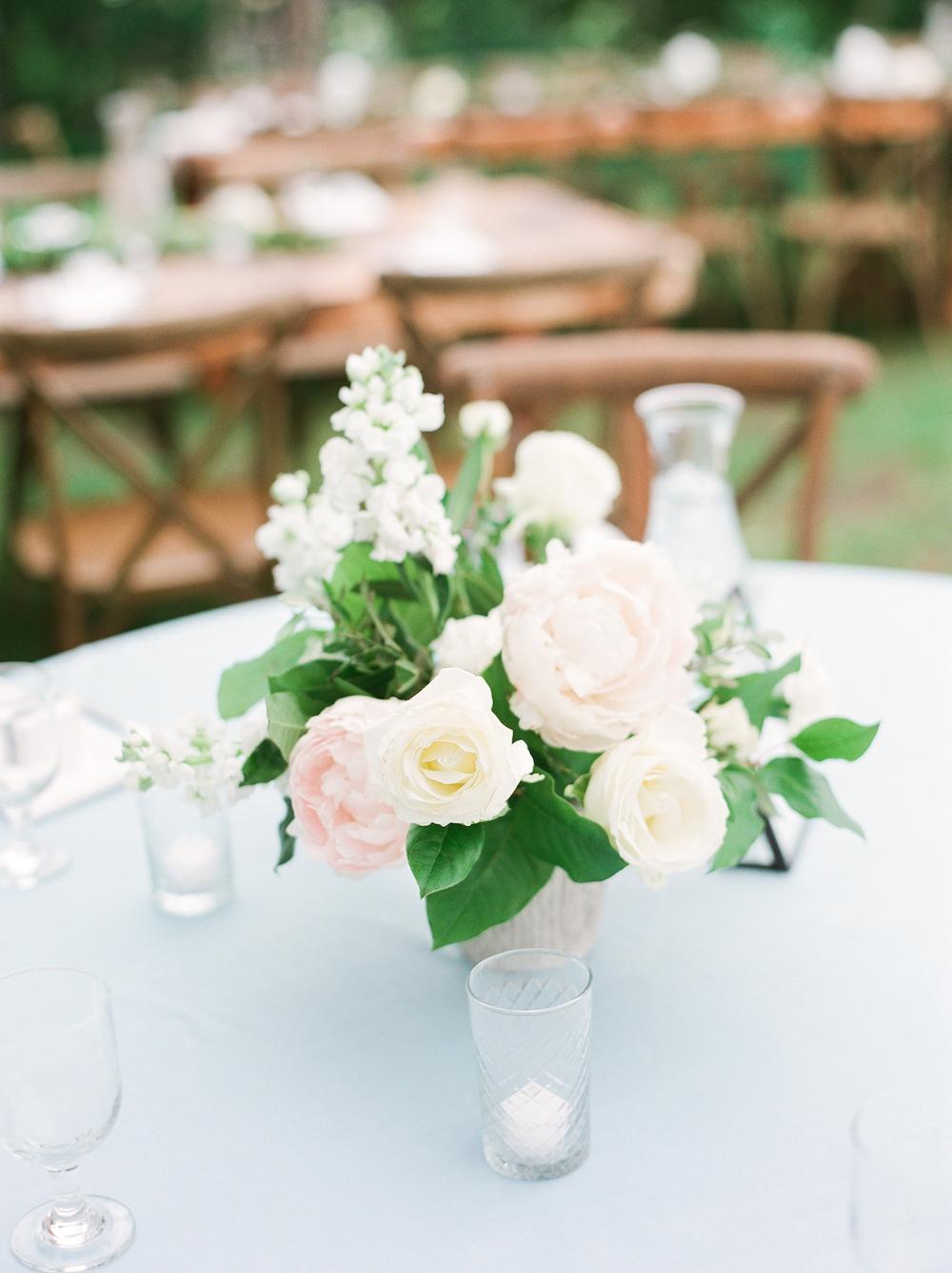 A flower arrangement for a wedding