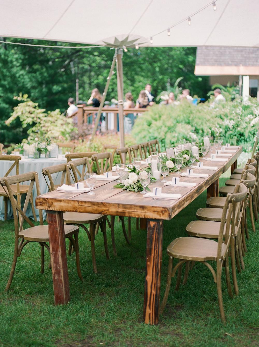 Tables set for a Leelanau school wedding in Glen Arbor, Michigan