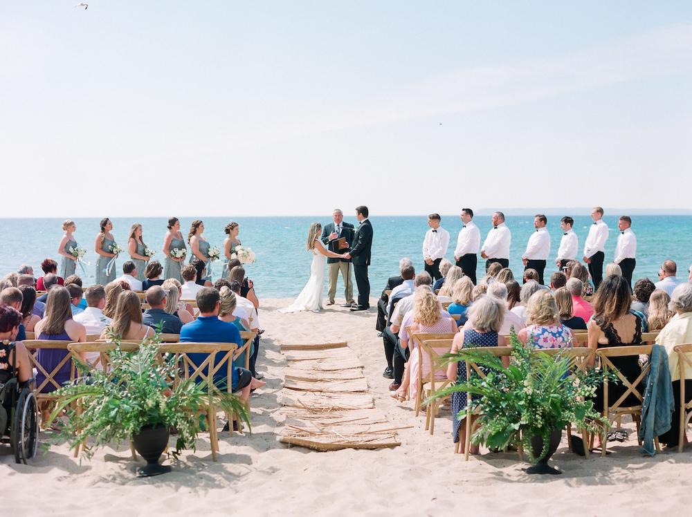 A lake michigan beach front leelanau school wedding