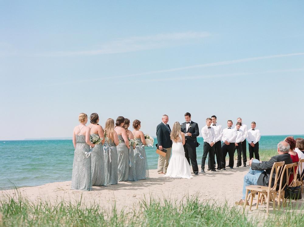 Couple eloping at the Leelanau School in Michigan