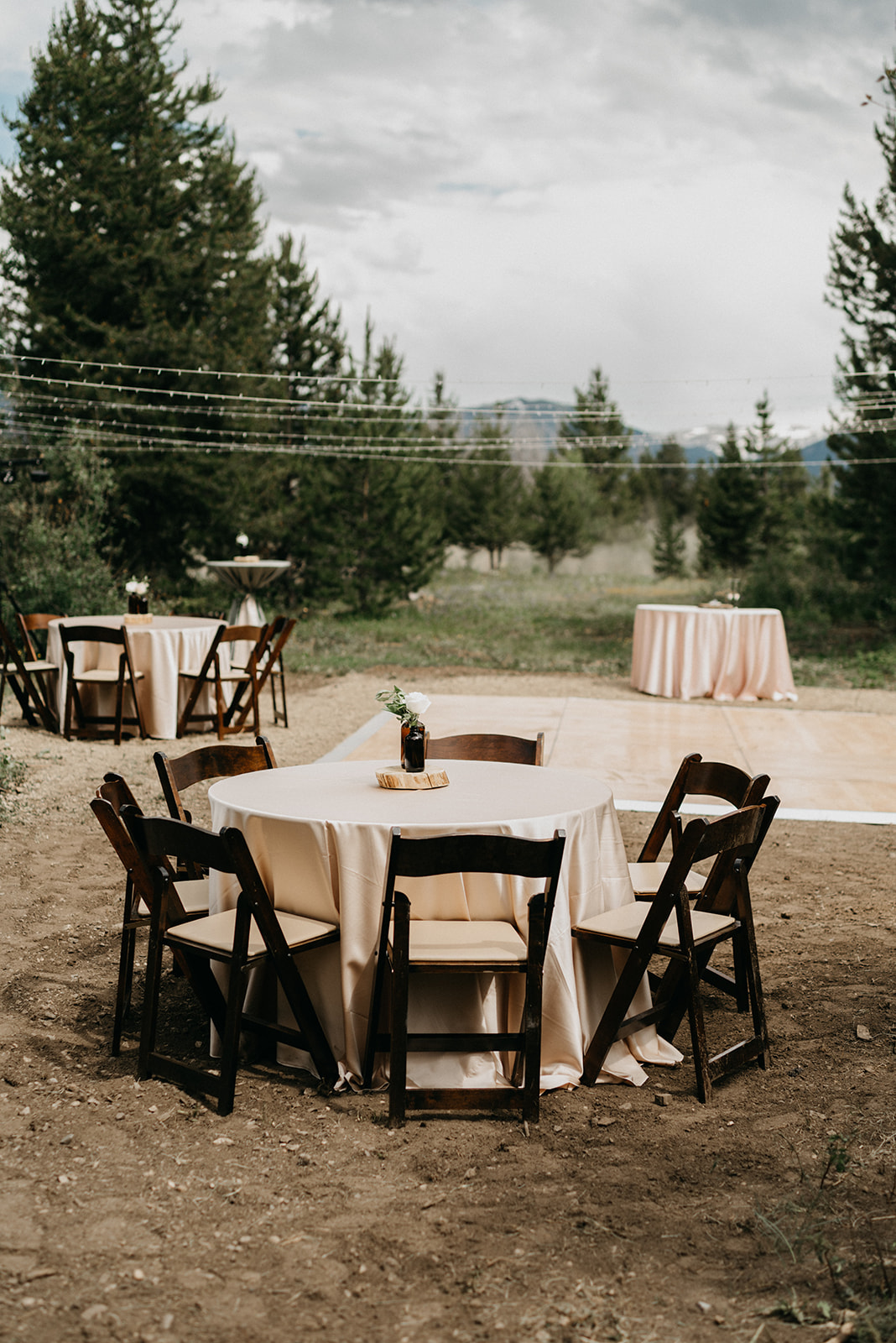 Reception set for a Colorado wedding