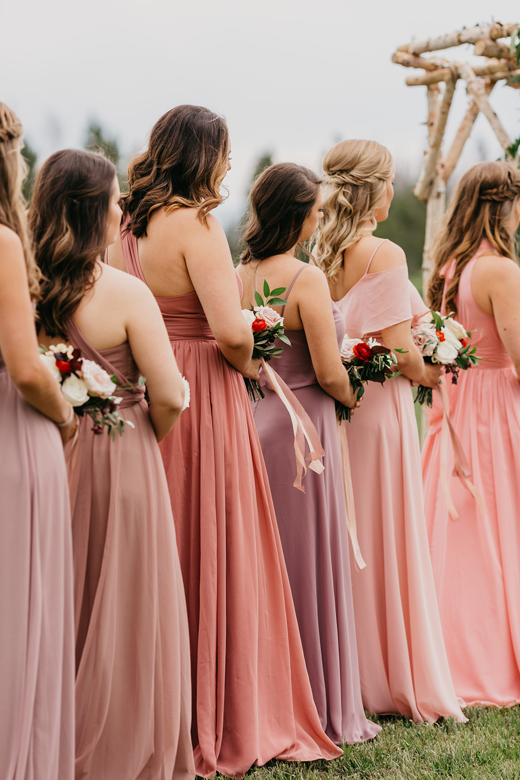 Bridesmaids watching a wedding ceremony