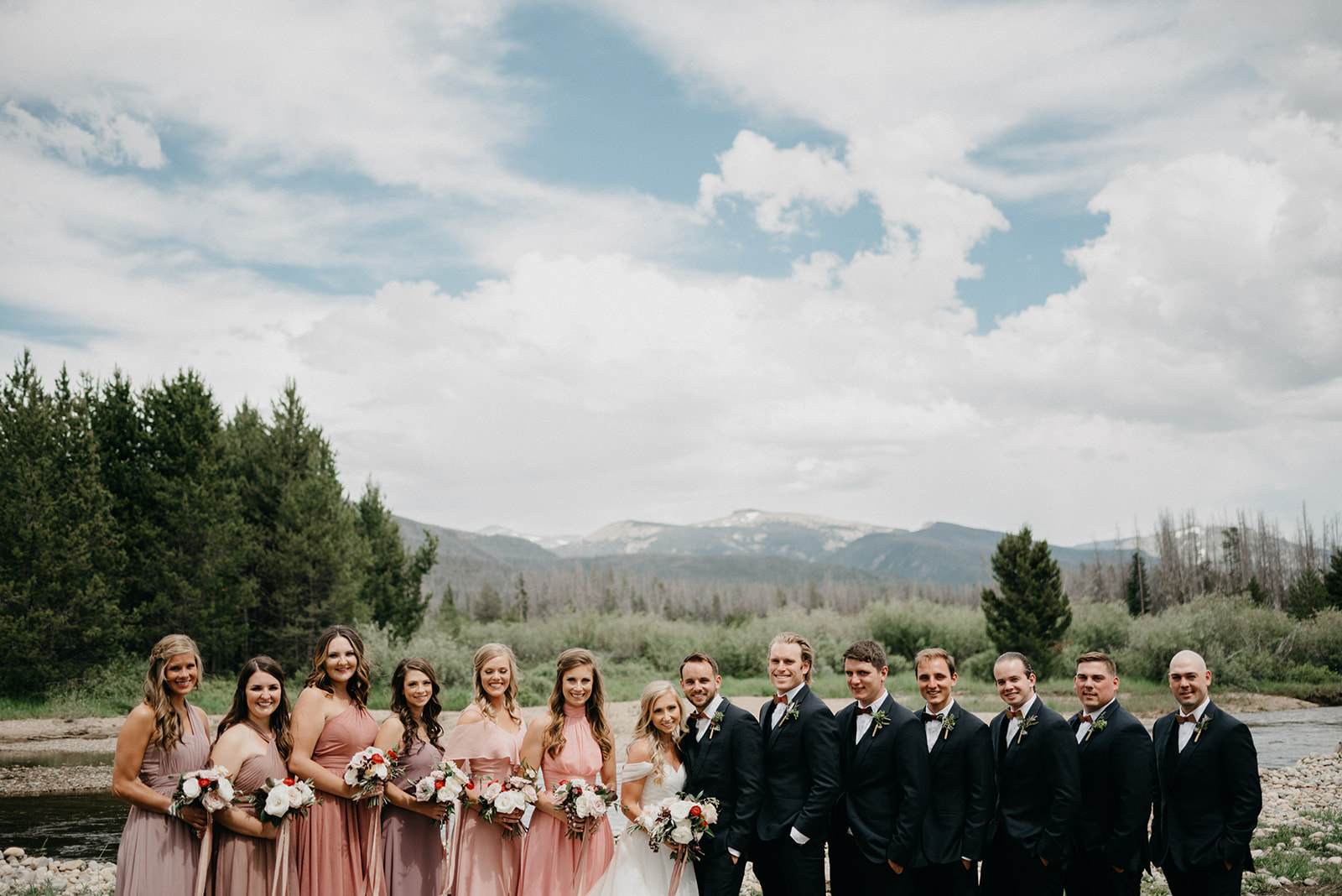A wedding party before a Colorado wedding