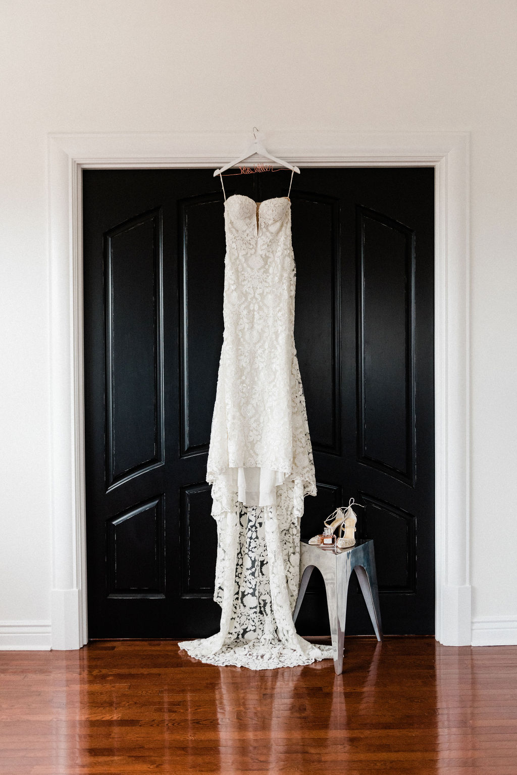 A bridal gown hanging