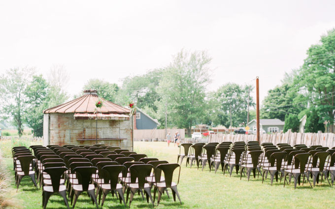 A ceremony set for a Journeyman Distillery wedding