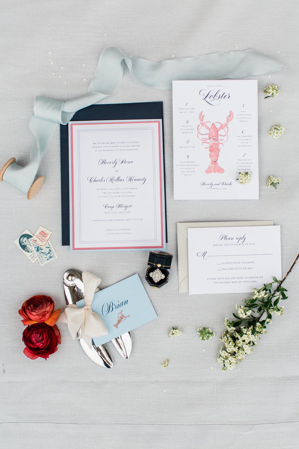 Lobster invitation suite