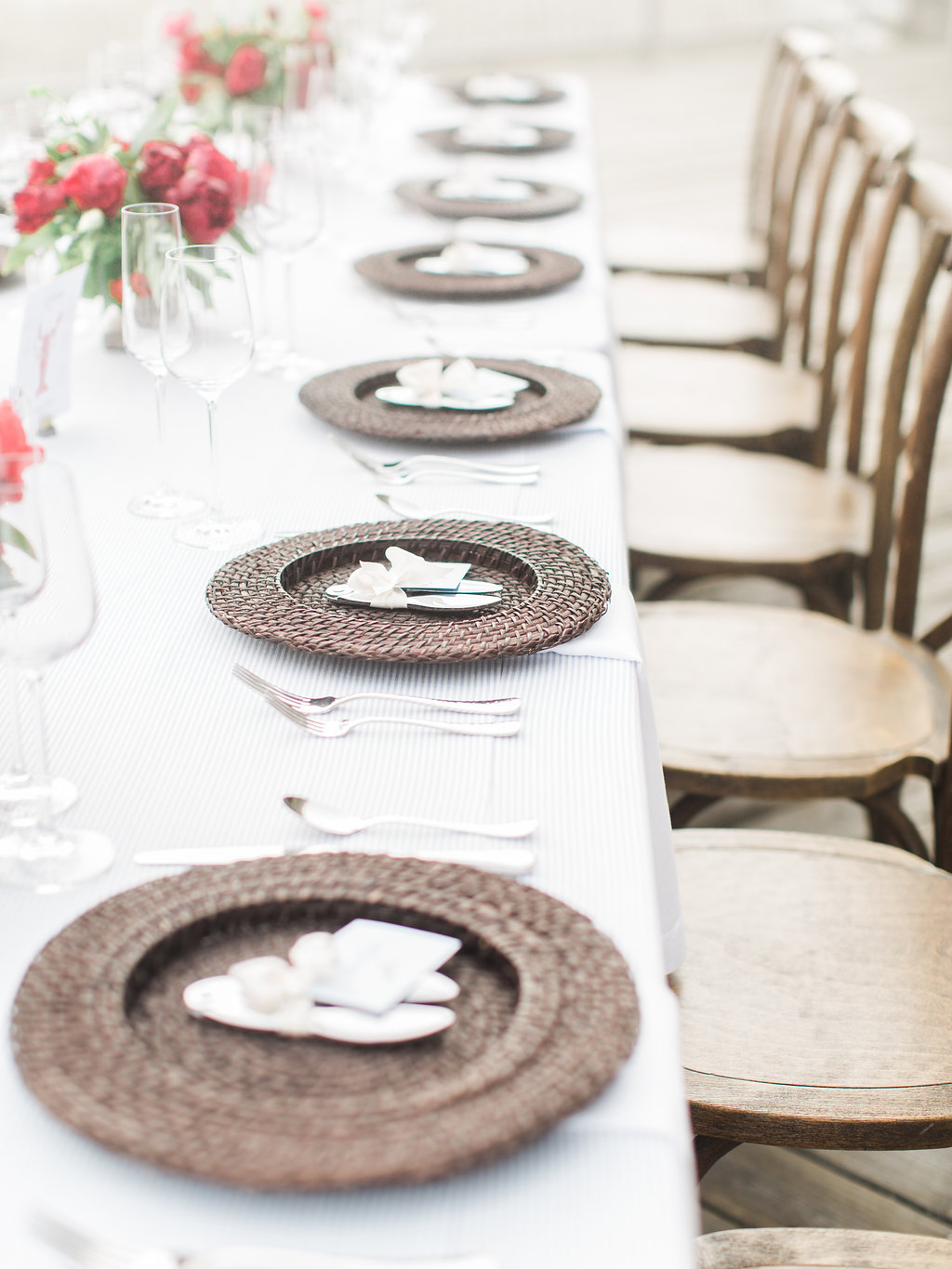 Place settings for a table
